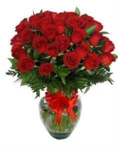 50 rosas rojas en florero