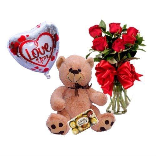PKT AMOR (6 rosas, globo, oso y ferrero)