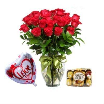 combo rosas globo y chocolate