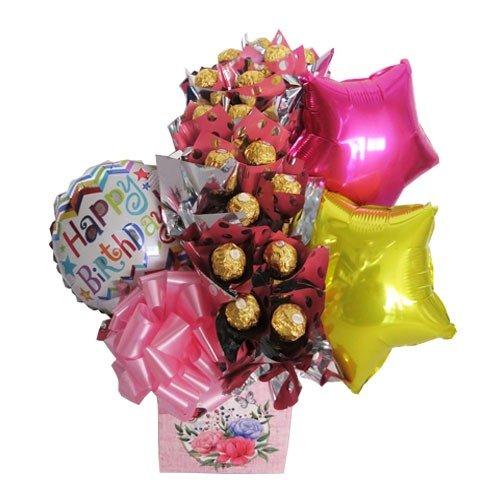 Ferreros y globos en caja