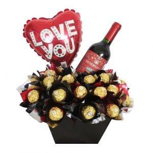 Con amor chocolates vino y globo