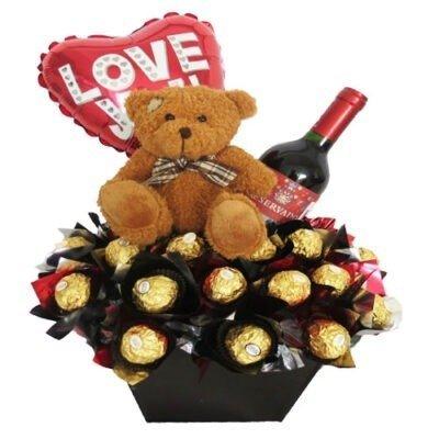 teddy chocolates vino y globo