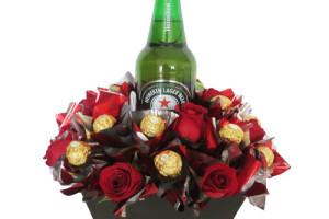 Bouquet rosas y choco-heineken